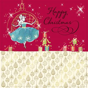 Christmas Baubel with girl,Gold Foiling, Contemporary Design and Red Envelope KIS7